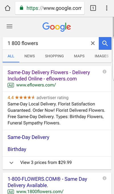 mobile serp for branded searches