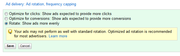 ad rotation adwords help