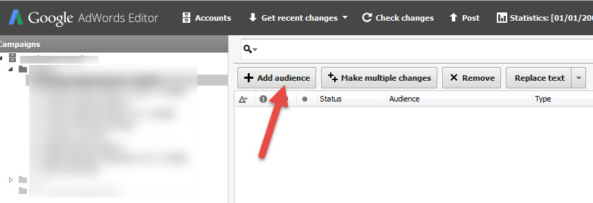 add audience in adwords