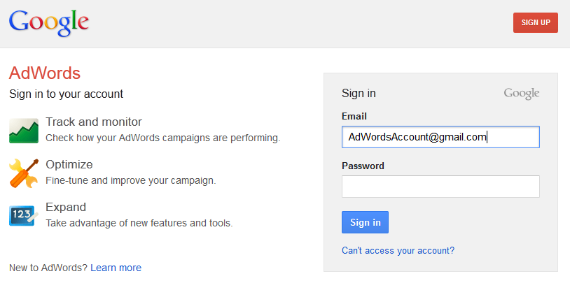 AdWords account