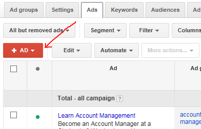 adwords account structure screenshot showing where to add an ad