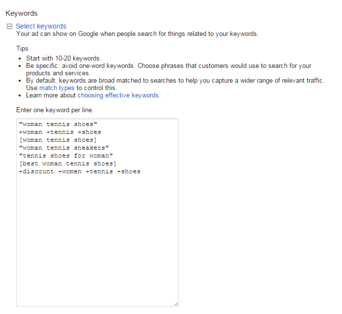 adwords account structure screenshot showing where to add keywords