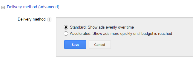 adwords account structure delivery method settings