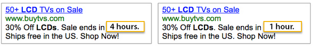 AdWords ad copy comparing ads