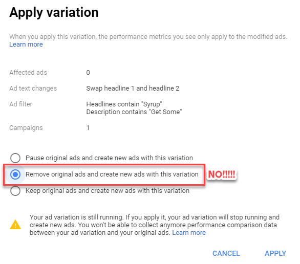 apply adwords ad variations application settings