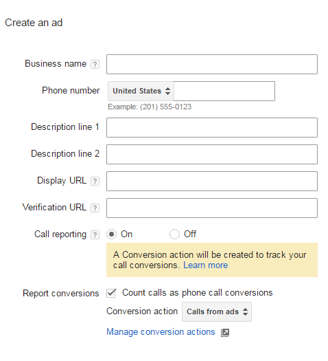 creating call only ads adwords