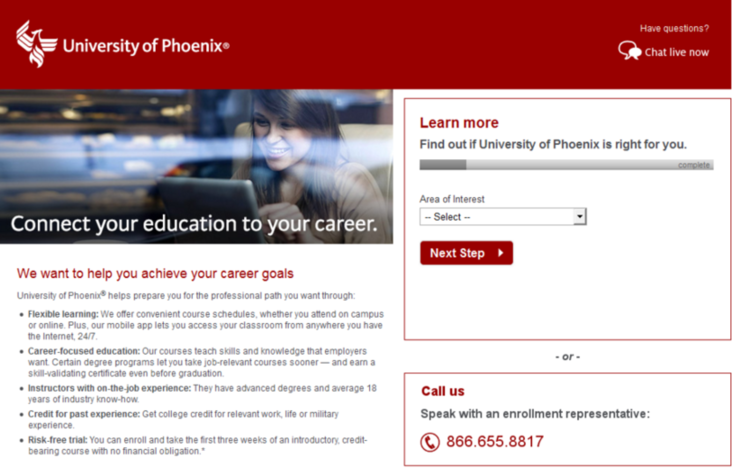 AdWords competition University of Phoenix example
