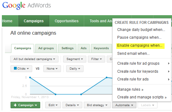 Google AdWords Holiday Settings