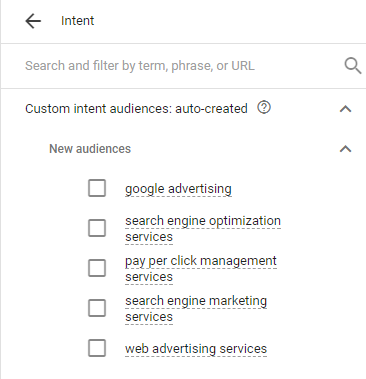 adwords custom intent audiences auto created
