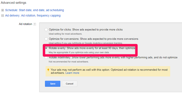 adwords display network ad rotation