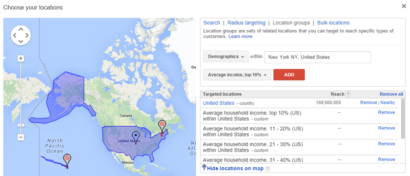 adwords income based targeting for high income prospects