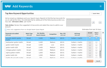 AdWords keywords search tool
