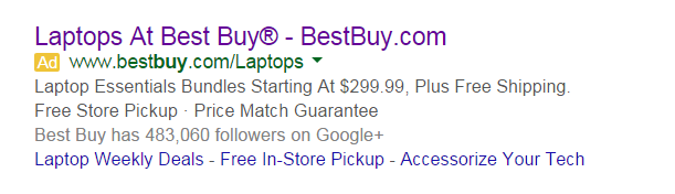 AdWords mistakes Best Buy ad