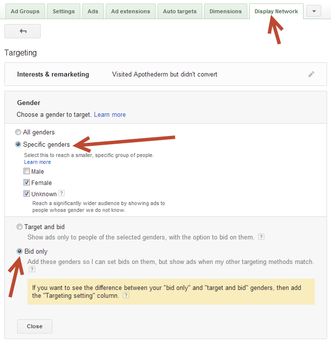 AdWords Gender Targeting Best Practices