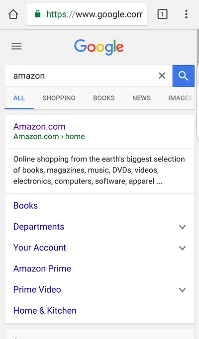 brand search for amazon on mobile