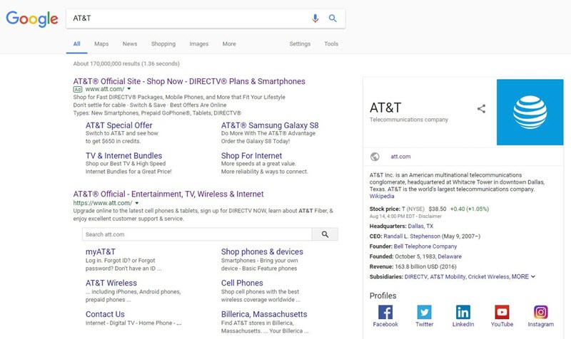 brand serp above the fold