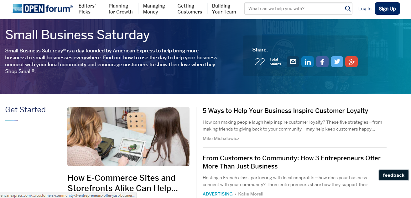 B2B content marketing American Express blog screenshot