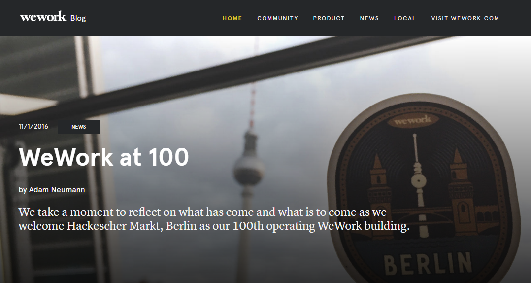 B2B content marketing WeWork blog screenshot