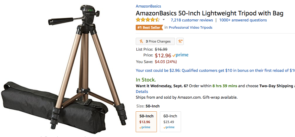 Beginner's guide to advertising on Amazon tripod ad example