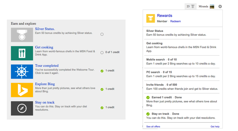 Bing Rewards credits