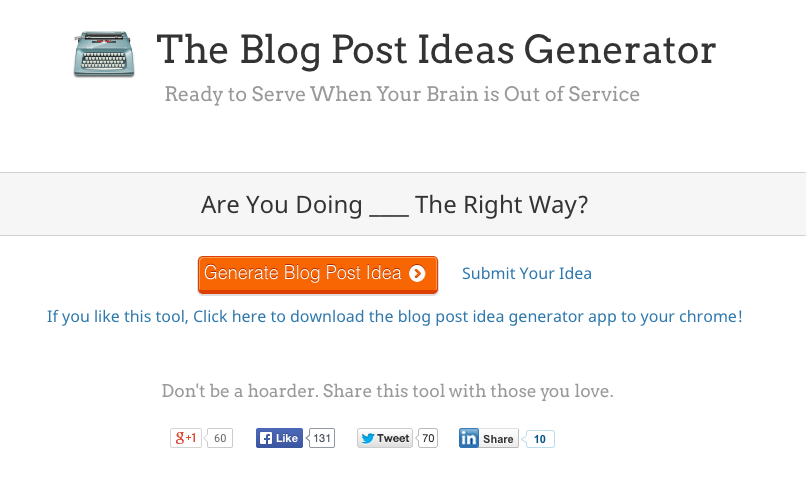 blog post idea generator