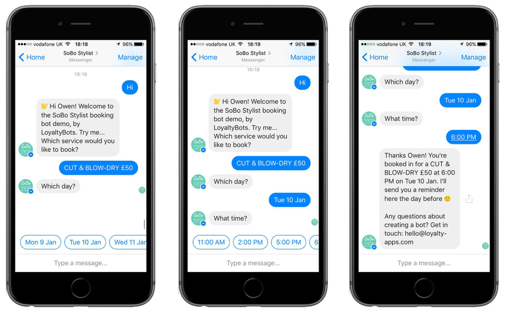 Chatbots as customer service reps example