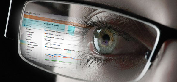 Clickbait Google Analytics screen reflected in eyeglasses
