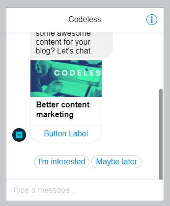 codeless facebook messenger ads