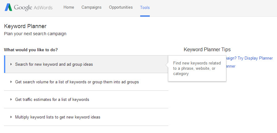 Commercial intent keywords AdWords keyword planner tool