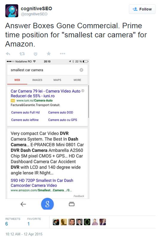 Google commercialized answer box tweet