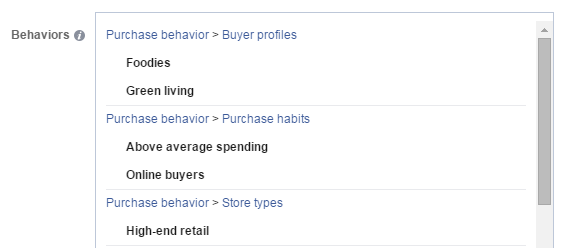 Content amplification Facebook targeting options