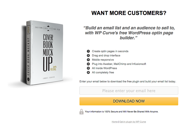 Conversion rate benchmarks email opt-in landing page example