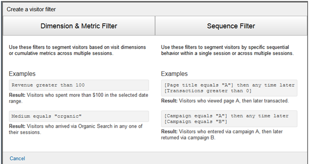 Google Analytics Visual Filter