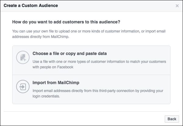 connecting facebook and mailchimp
