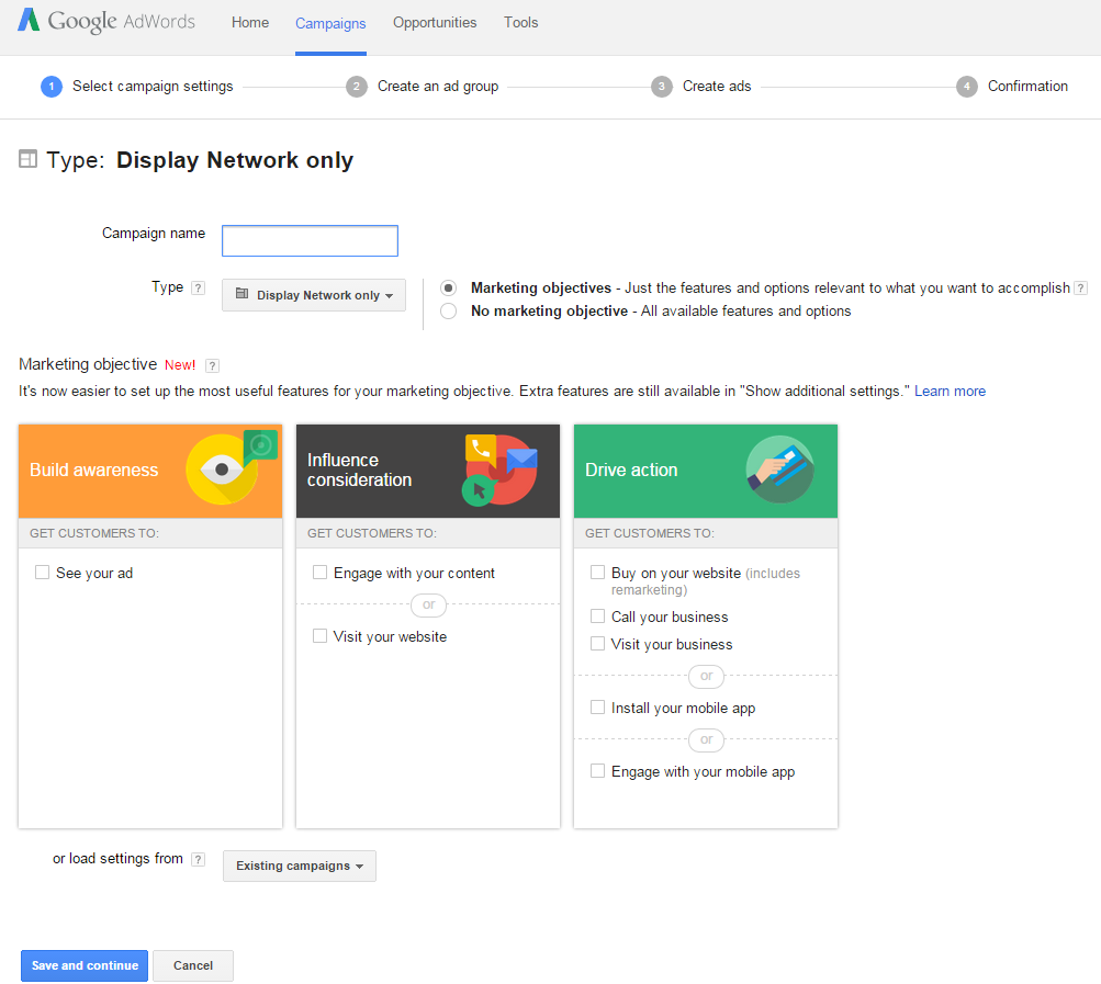 New Google Display Network interface