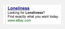 eBay fail, lonliness ad, AdWords doesn't work for eBay