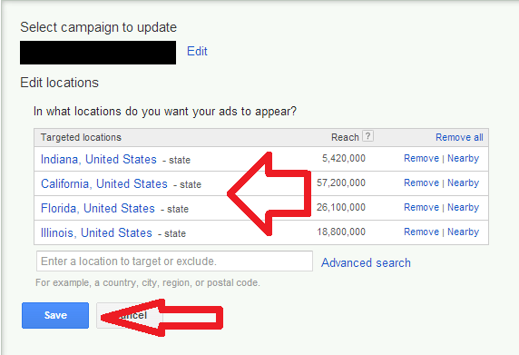 Edit Locations in AdWords