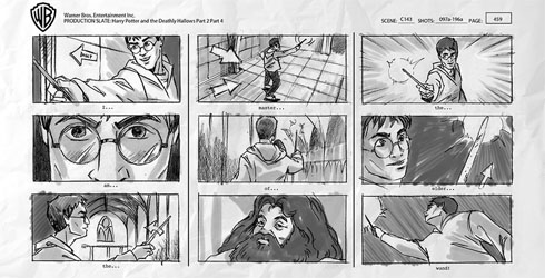 Editing marketing videos Harry Potter storyboard