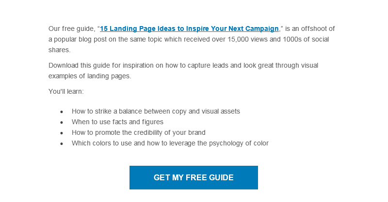 Email optimization landing page example 2