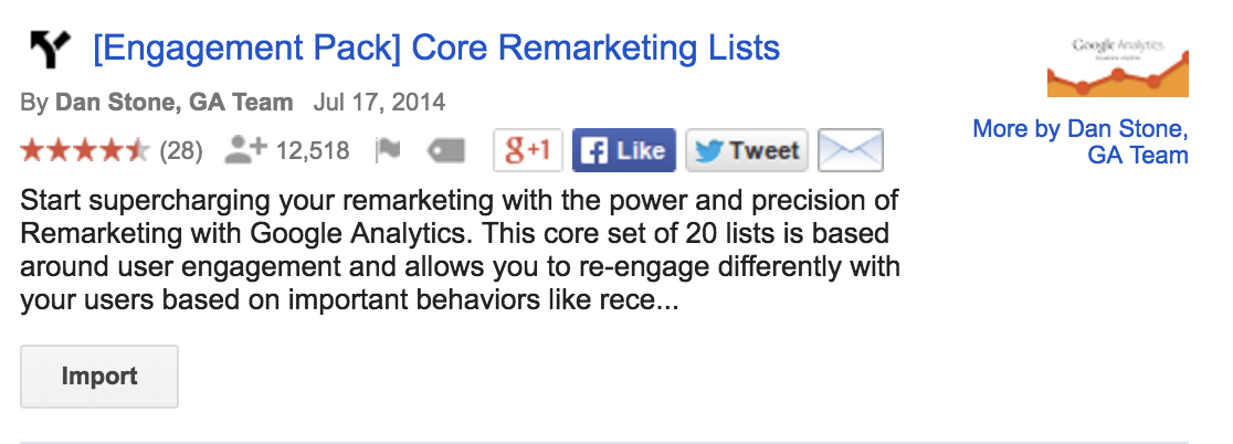 Google Analytics Engagement Pack Core Remarketing Lists