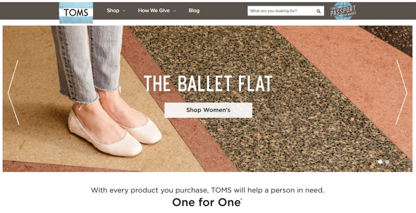 Ethical marketing TOMS shoes ballet flats