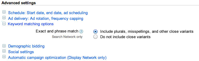 The New Broad Match and Phrase Match Keyword Matching Options in AdWords: Now Includes Plurals, Misspellings, and other close variants!