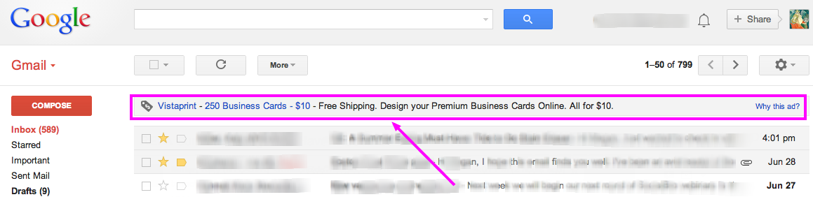Example of Gmail Ad