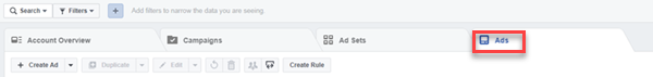 facebook ad manager ad tab location