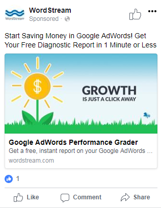 example of a facebook ad with a great relevance score