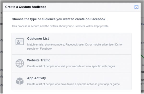 Facebook ad targeting create custom audience