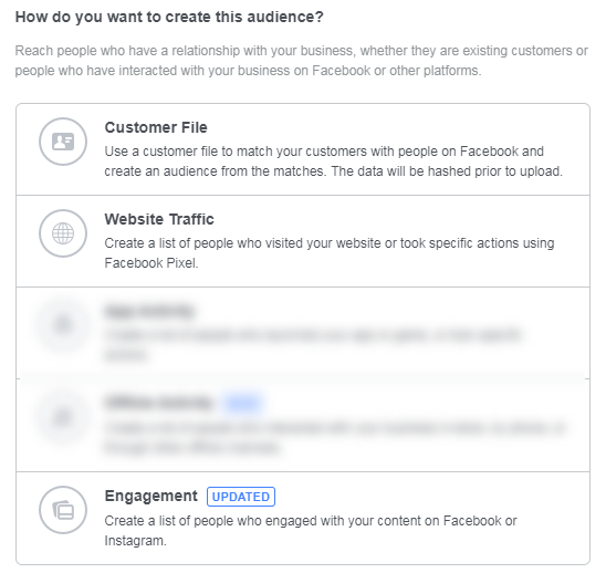 b2b facebook advertising custom audience creation