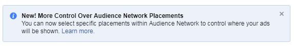 facebook audience network improvement managed placements