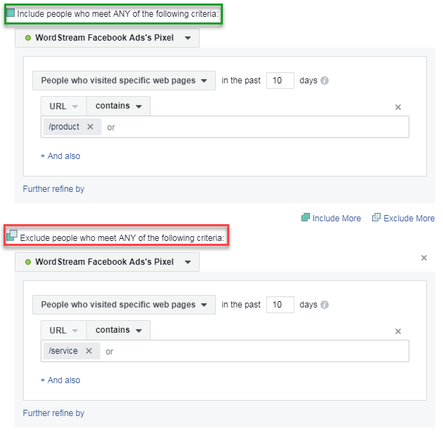 b2b facebook audience creation inclusion and exclusion