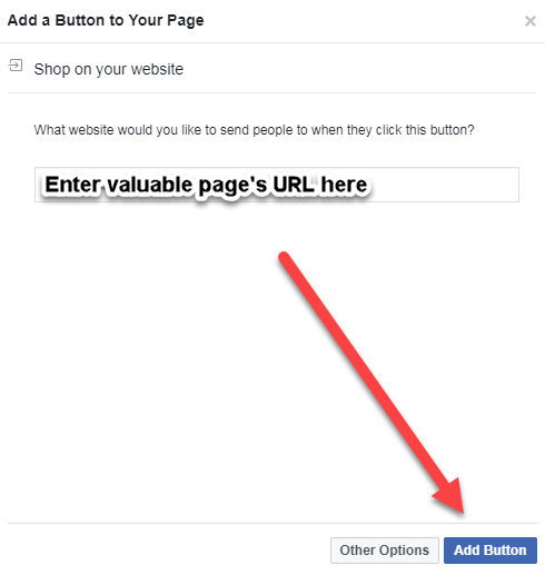 facebook business page button link URL